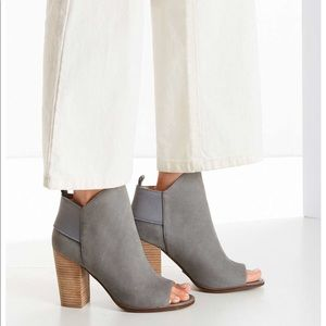 Gray Leather Ankle Shooties
